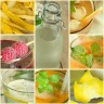 Collage of summer Fruit drinks, lemonade.