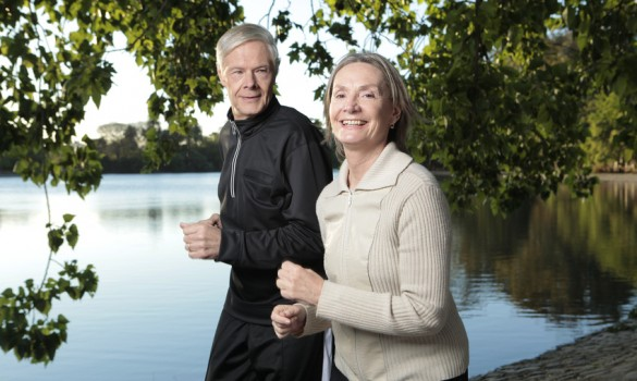 Mature couple jogging